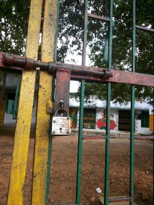 A big lock hangs at the Ainchwara Centre on the day of the exam